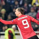 Manchester United's Swedish forward Zlatan Ibrahimovic celebrates after scoring a goal during the UEFA Europa League football match between FC Zorya Luhansk and Manchester United FC at the Chornomorets stadium in Odessa on December 8, 2016. / AFP / SERGEI SUPINSKY (Photo credit should read SERGEI SUPINSKY/AFP/Getty Images)