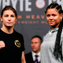 Katie Taylor, left, and Viviane Obenauf square off