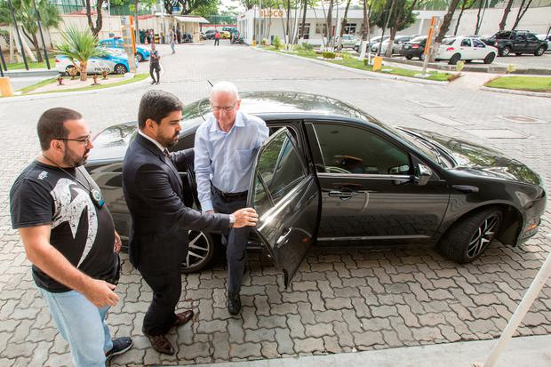 Pat Hickey is taken in for questioning by police in Rio de Janeiro Photo: Hans Georg
