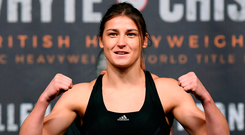 Katie Taylor in confident mood at yesterday's weigh-in. Photo: Stephen McCarthy/Sportsfile