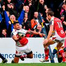 Charles Piutau of Ulster celebrates after scoring his side's sixth try during the European Rugby Champions Cup Pool 5 Round 3 match between Ulster and ASM Clermont Auvergne at the Kingspan Stadium in Belfast. Photo by Ramsey Cardy/Sportsfile
