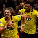 Watford's Sebastian Prodl celebrates scoring their second goal with Troy Deeney Reuters / Toby Melville