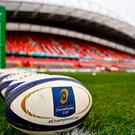 A general view of official match balls on the pitch before the European Rugby Champions Cup Pool 1 Round 3 match between Munster and Leicester Tigers at Thomond Park in Limerick. Photo by Diarmuid Greene/Sportsfile