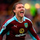 Burnley's Jeff Hendrick celebrates scoring his side's first goal of the game during the Premier League match at Turf Moor