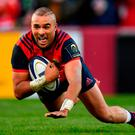 10 December 2016; Simon Zebo of Munster scores his side's first try during the European Rugby Champions Cup Pool 1 Round 3 match between Munster and Leicester Tigers at Thomond Park in Limerick. Photo by Brendan Moran/Sportsfile