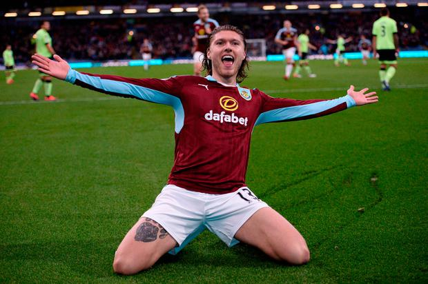 Burnley's Irish midfielder Jeff Hendrick celebrates after scoring the opening goal of the English Premier League football match between Burnley and Bournemouth at Turf Moor