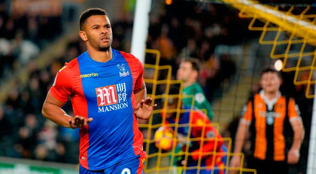 Crystal Palace's Frazier Campbell celebrates after scoring his side's third goal