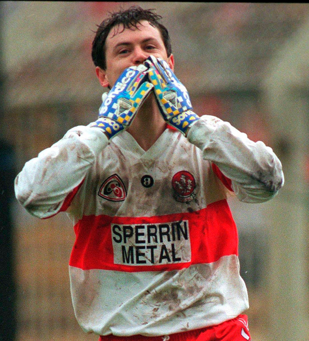 Joe Brolly celebrates his goal for Derry against Mayo in the 1996 National Football League semi-final at Croke Park by blowing a kiss. Some team-mates weren't fond of this kind of celebration.. Photo: Ray McManus/Sportsfile