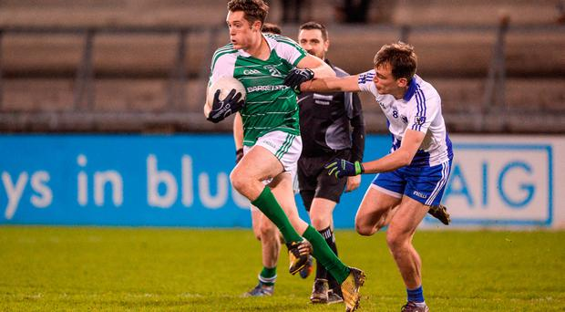 Declan Byrne of Leinster in action against Enda Smith of Connacht during the GAA Interprovincial Football Championship Semi-Final between Connacht and Leinster at Parnell Park in Dublin. Photo by Daire Brennan/Sportsfile