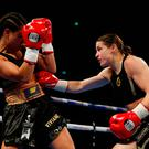 Katie Taylor (R) in action against Viviane Obenauf