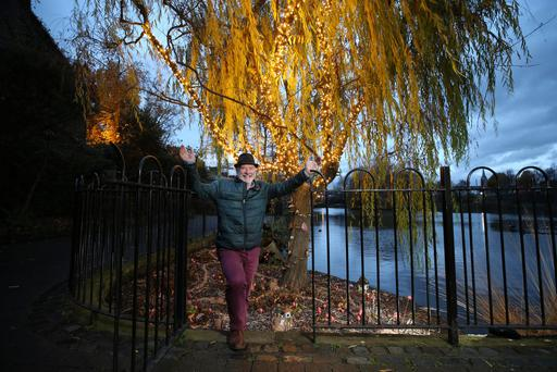 ILLUMINATING: Liam Collins at the lighting up of one of Dublin's hidden gems, the Blessington Basin. Photo: Conor McCabe Photography