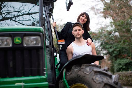 Victoria Mary Clarke with farmer James Grannell, who is a model in the Irish Farmer calendar. Photo: Fergal Phillips