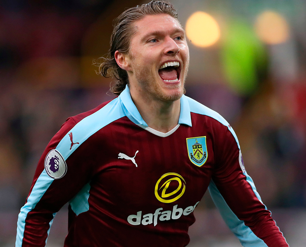 Burnley's Jeff Hendrick celebrates scoring his side's first goal in their 3-2 win over Bournemouth. Photo: PA