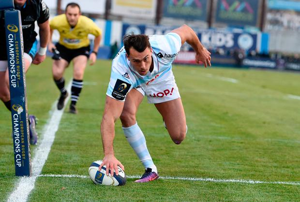 Racing Metro 92 wing Juan Imhoff scores a try. Photo: Getty Images