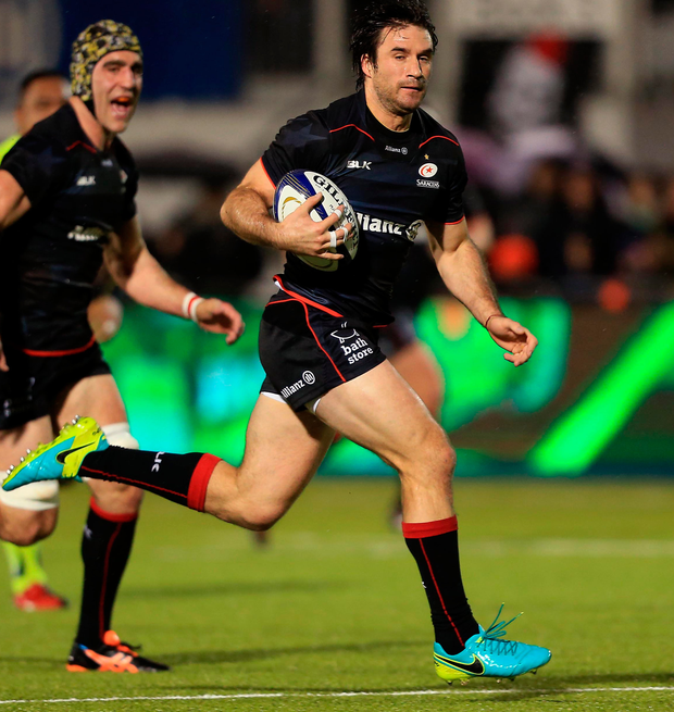 Saracens' Marcelo Bosch scores a try. Photo: Getty Images