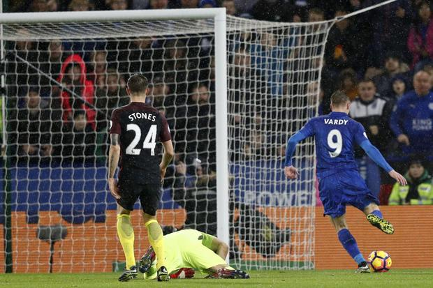 Jamie Vardy sends Carragher into fits as he embarrasses Man City defence with Leicester's third. Getty