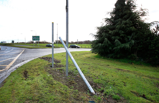 The Glenview roundabout on the N81 near Tallaght , where a motorcyclist lost his life after crashing into the roundabout. Credit: Frank Mc Grath