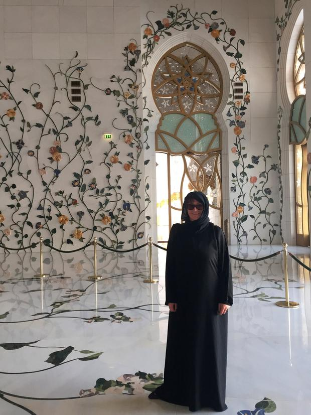 Aine in the Great Mosque, women must be covered
