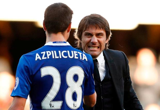 Chelsea manager Antonio Conte celebrates after the game today with Cesar Azpilicueta. Action Images via Reuters / John Sibley