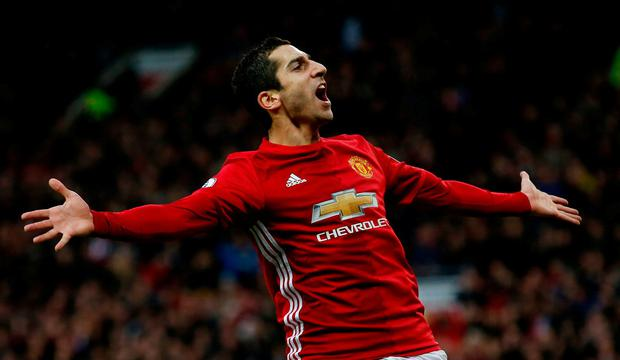 Manchester United's Henrikh Mkhitaryan celebrates scoring on Sunday