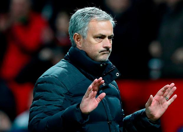 Manchester United manager Jose Mourinho celebrates after the final whistle
