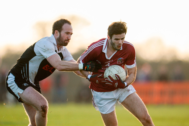 Karl McKaigue of Slaughtneil in action against Adrian Moyles of St Kiernan's. Photo by Sam Barnes/Sportsfile