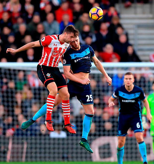 Southampton's Sam McQueen and Middlesbrough's Calum Chambers battle for possession. Photo: John Walton/PA Wire.