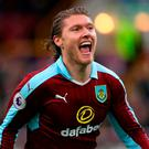 Burnley's Jeff Hendrick celebrates scoring his side's first goal of the game. Photo: Martin Rickett/PA Wire.