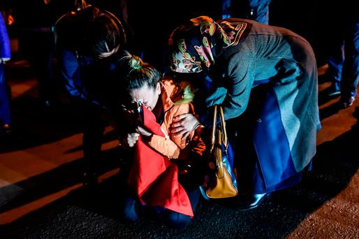 A woman cries during a demonstration yesterday after the bombings. AFP/Getty Images