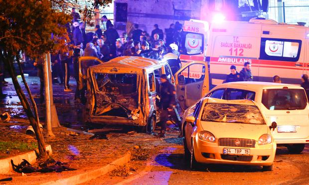 Police at the scene of one of the blasts. REUTERS/Murad Sezer