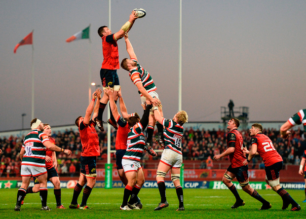 Peter O'Mahony of Munster wins possession in a line-out ahead of Leicester's Ed Slater at Thomond Park on Saturday. Photo by Diarmuid Greene/Sportsfile
