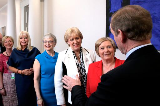 Frances Fitzgerald, Heather Humphreys, Katherine Zappone, Mary Mitchell O'Connor and Regina Doherty were at the front of a photo taken at Government Buildings when Enda Kenny unveiled his new Cabinet