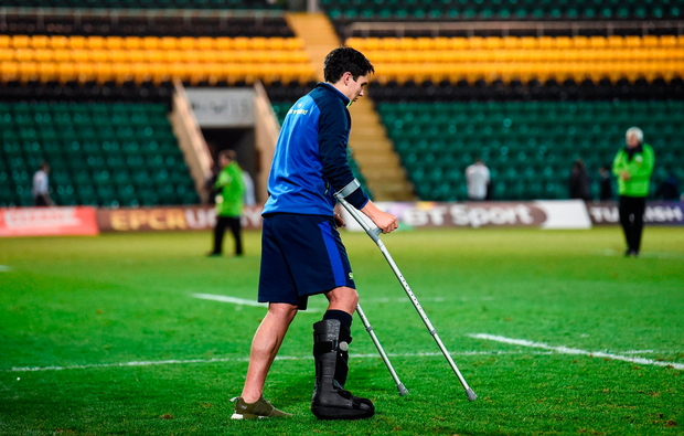 Joey Carbery wears a protective boot after Leinster's victory at Franklin's Gardens. Photo by Stephen McCarthy/Sportsfile