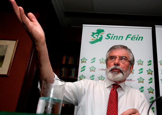 Gerry Adams speaks at a Sinn Féin event in the Davenport Hotel in Dublin last week. Photo: Tom Burke