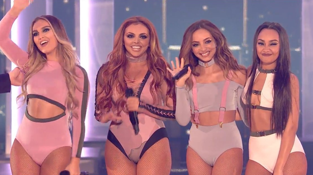 Jesy Nelson (second from left) on the X Factor. Image: X Factor/ITV