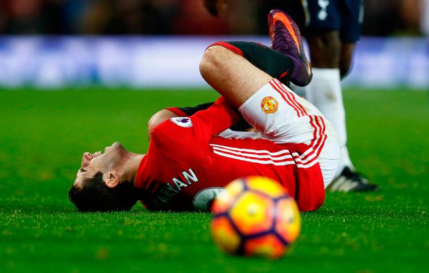 Manchester United's Henrikh Mkhitaryan was injured yesterday in the win over Spurs