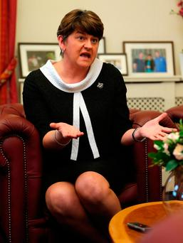 Northern Ireland First Minister Arlene Foster speaking at her office in Stormont Castle. Photo: Niall Carson/PA Wire