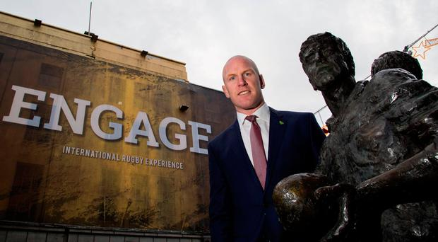 Paul O'Connell is pictured at the site of the proposed world rugby visitor centre on O'Connell Street, Limerick. Photo: Alan Place