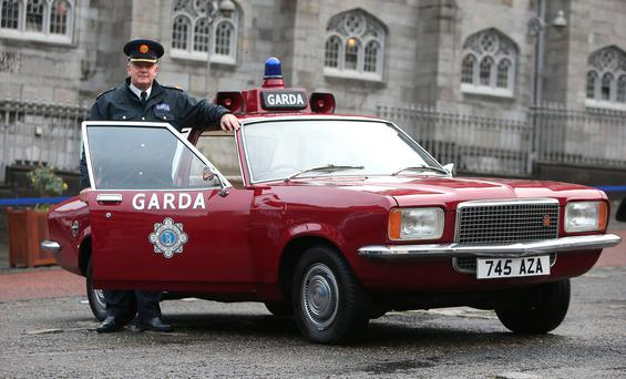 Assistant Commissioner, Jack Nolan beside a former Garda Car, a Vauxhall Victor 1973, which was on display at Dublin Castle before the opening of the new Garda Museum detailing the history of the force. Photo: Damien Eagers