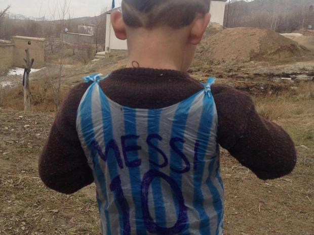 Ahmadi became an internet sensation after this image of him wearing his 'Messi shirt' was widely shared. Getty
