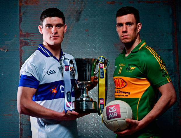 Diarmuid Connolly of St Vincent's and Rhode's Niall McNamee help to preview last weekend's Leinster Club SFC final won by Connolly's side with plenty of help from other counties. Photo: Sportsfile