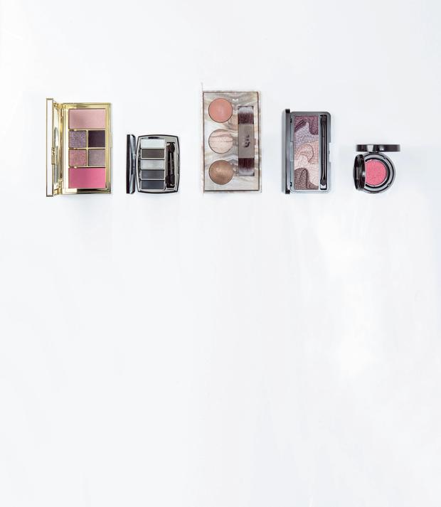 Pictured, from left, Tom Ford Soleil Eye and Cheek Palette in Warm; Chanel Architectonic Eyeshadow Palette; Urban Decay Naked Illuminated Trio; Lov Loviconyx Eyeshadow & Contouring Palette in A Glass of Wine With Liz; Lancome Cushion Blush Subtil in Rose Givree