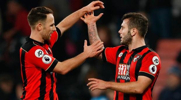 Bournemouth's Marc Pugh celebrates after the game