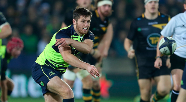 Ross Byrne will continue his rise when he starts at out-half for Leinster on Saturday. Photo: Getty