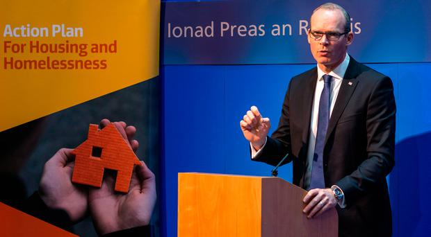 Minister Simon Coveney announces his plan for the rental sector. Photo: Doug O'Connor