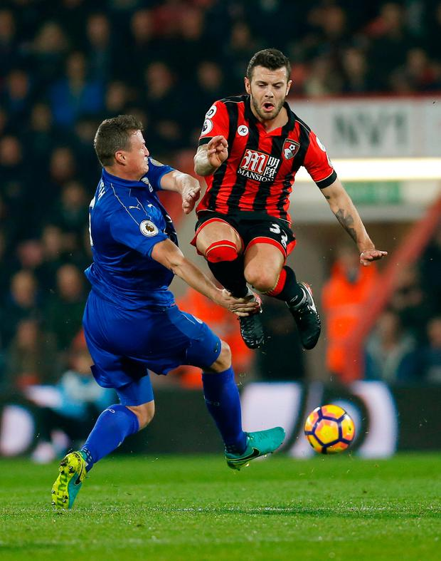 Bournemouth's Jack Wilshere in action with Leicester City's Robert Huth Picture: Reuters