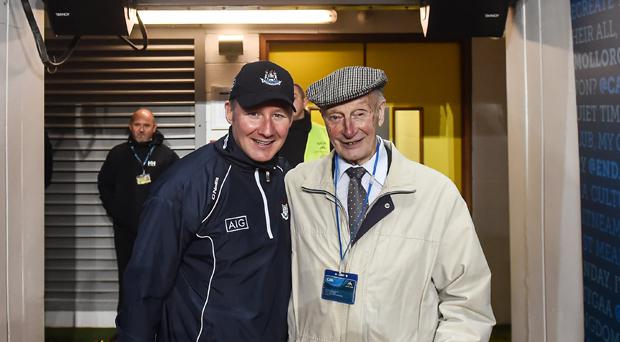 Dublin manager Jim Gavin with the late Joe Rock after Dublin's All-Ireland triumph in October