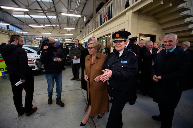 Tánaiste Frances Fitzgerald and Garda Commissioner Nóirín O'Sullivan at the launch of the Armed Support Unit (ASU) at Garda Headquarters. Pic:Mark Condren