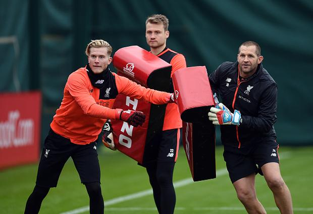 Loris Karius and Simon Mignolet of Liverpool during a training session at Melwood