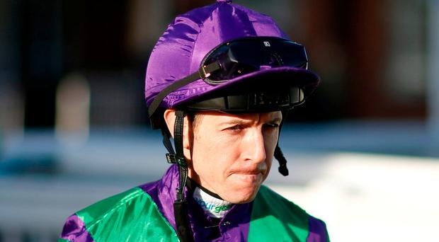 Champion jockey Jim Crowley on his return to action at Lingfield six weeks after being injured in an accident involving multiple fallers at Kempton. Photo: Alan Crowhurst/Getty Images